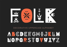 Vector Display Uppercase Alphabet Decorated With Geometric Folk Patterns