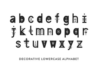 Vector display lowercase alphabet decorated with geometric folk patterns