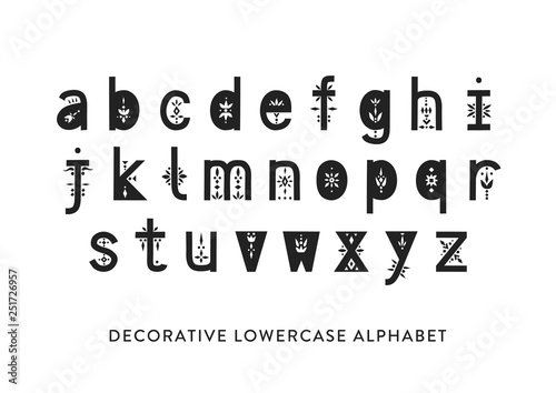 Leinwand Poster Vector display lowercase alphabet decorated with geometric folk patterns