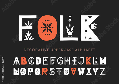 Vector display uppercase alphabet decorated with geometric folk patterns Slika na platnu