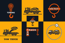 Set Of Tow Truck Icon