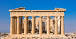 Athens, Greece - March 14, 2017: Eastern facade of the Parthenon temple on the Acropolis of Athens, Greece.