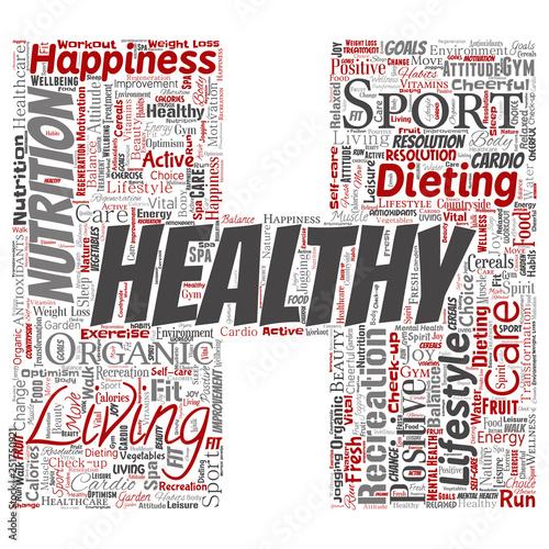 Vector conceptual healthy living positive nutrition sport letter