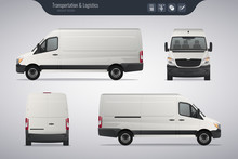 Detailed Cargo Van Vector Template. Realistic White Cargo Van Isolated On Grey Background. Vector