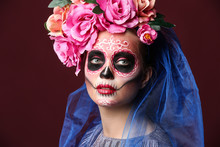 Young Woman With Painted Skull...
