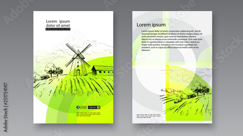 Foto auf Gartenposter Dunkelgrau Rural dutch landscape with windmill and wheat field. Set of traditional windmill. Bakery shop, organic agricultural production, ecological food. Vector hand drawn vintage engraved sketch. - Vector