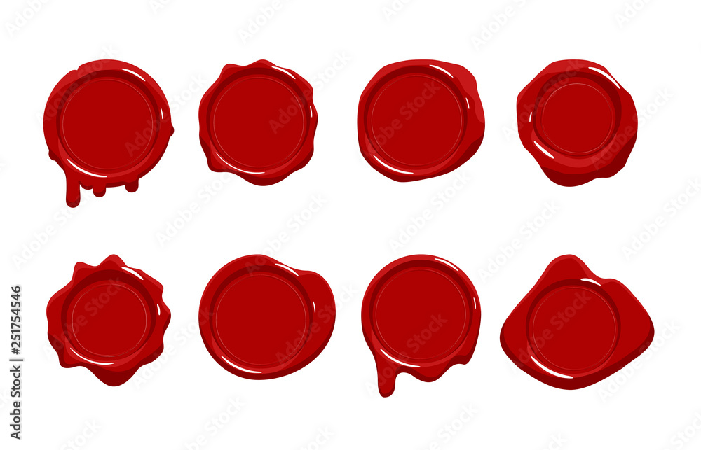 Fototapeta Postage red wax seal scroll stamp empty sign diploma certificate isolated on white mockup icons set flat design vector illustration
