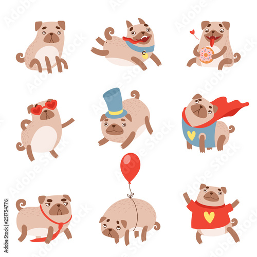 Canvas Prints Baby room Funny Pug Dog Set, Cute Pet Animal Character in Different situations Vector Illustration