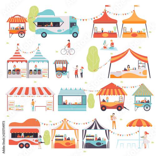Fotografie, Tablou Street Food Set, Sellers Selling Food at Kiosk, Booth, Food Truck and Cart Vecto