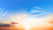 canvas print picture Background of colorful sky concept: Dramatic sunset with twilight color sky and clouds