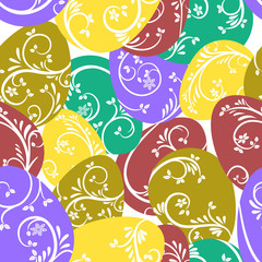 Seamless pattern. Multicolored eggs with a beautiful elegant pattern.  Bright design for Easter holiday, wrapping paper, cards, eco products.