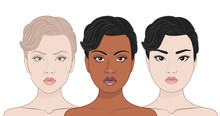 African, Asian And Europeans Women. Three Girls Of Different Races. Vector Illustration.