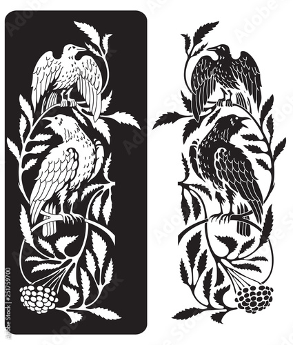 Fotomural Two black crows and branches of mountain ash, an illustration of Scandinavian my