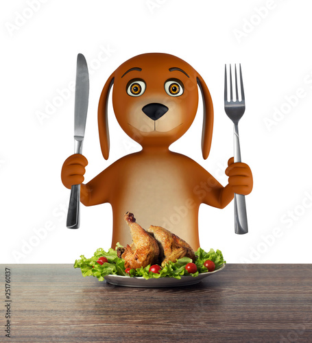 Hungry cartoon dog with bowl holds a knife and fork