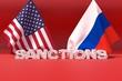 Western american sanctions against . 3D illustration.