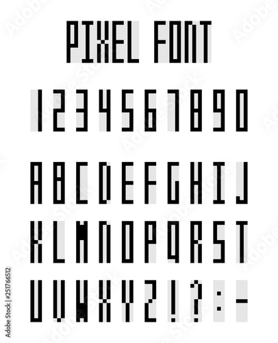 Pixel alphabet letters and number set, pixeled font - Buy