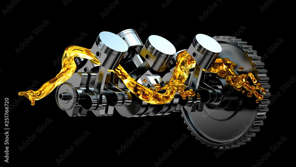 Fototapeta 3d illustration of engine. Motor parts as crankshaft, pistons with motor oil splash