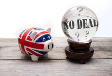 "Brexit Concept For ""no Deal"" - UK Money And Financial System Represented By A Union Jack Piggy Bank And A Crystal Ball"