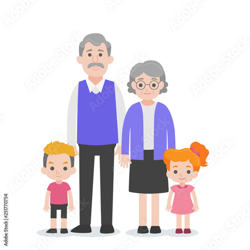 Fotografie, Obraz  Set of People Character Family concept,grandchild, nephew, niece grand mother, grand father, cartoon character flat design vector on white background