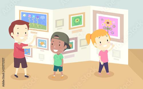 Fotografie, Obraz  Kids Gallery Art Walk Illustration