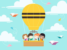 Kids Student School Hot Air Balloon Illustration