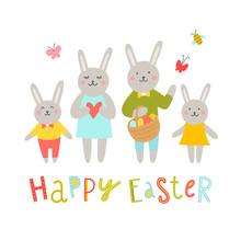 Rabbits Family Vector Illustra...