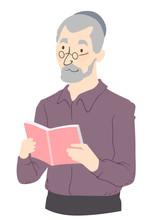 Senior Man Read Book Illustrat...