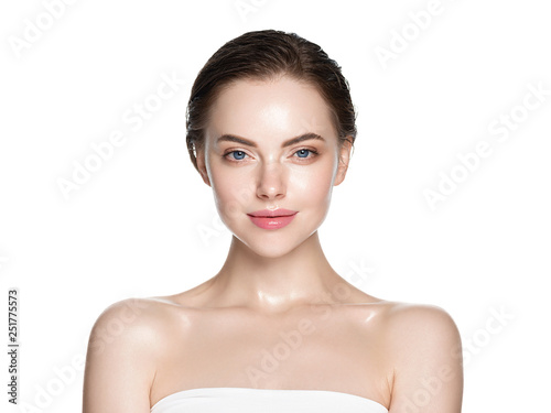 Obraz Skin care woman face with healthy beauty skin face closeup cosmetic age concept - fototapety do salonu