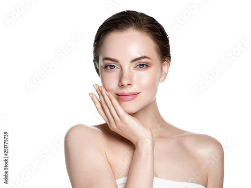 Fototapeta Skin care woman face with healthy beauty skin face closeup cosmetic age concept obraz