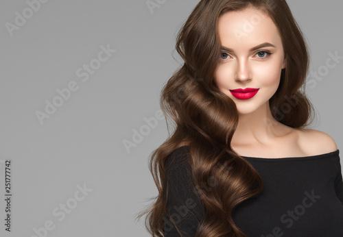 Recess Fitting Hair Salon Beautiful hair woman long brunette hairsstyle healthy skin