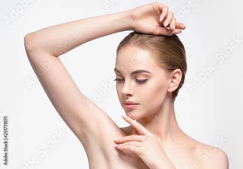 Obraz Armpit woman hand up deodorant epilation clean concept - fototapety do salonu