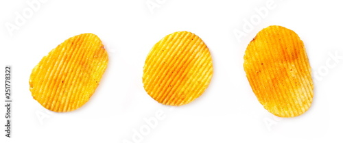 Fotografía  Pepper, paprika flavored potato chips, crisps set and collection isolated on whi