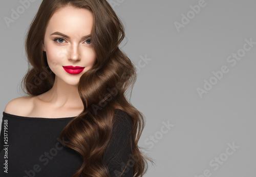Fototapety, obrazy: Beautiful hair woman long brunette hairsstyle healthy skin