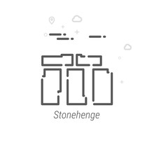 Stonehenge, England Vector Line Icon. Historical Landmarks Symbol, Pictogram, Sign. Light Abstract Geometric Background. Editable Stroke. Adjust Line Weight. Design With Pixel Perfection.