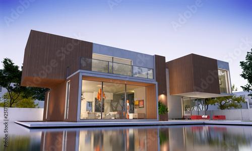 Nowoczesny luksusowy dom z drewnem