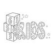 cute kids word with blocks of numbers