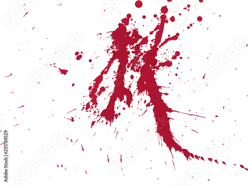 Blood drops and splatters on white background Fototapet