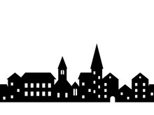 Black And White Houses And Buildings Small Town Street Seamless Border, Vector