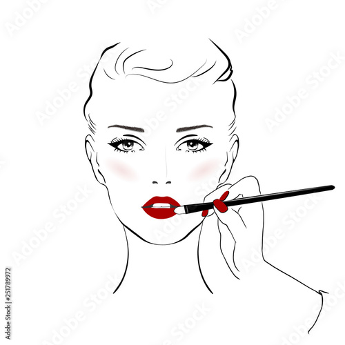 7e37480d84c Woman face with red lips and beautiful eye makeup and hand with makeup  brush, vector fashion illustration. Hand drawn line art sketch banner  background ...