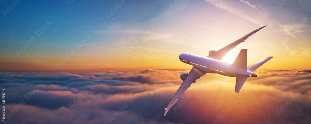 Fototapety, obrazy: Passengers commercial airplane flying above clouds