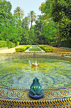 Beautiful Fountain Of Ceramic Frogs. Park Of Maria Luisa In Seville, Andalusia, Spain