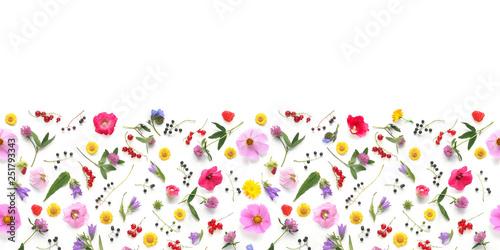 Keuken foto achterwand Bloemen Flowers banner flat lay.