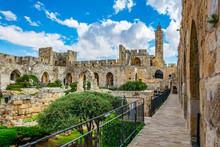 Inner Courtyard Of The Tower Of David In Jerusalem, Israel