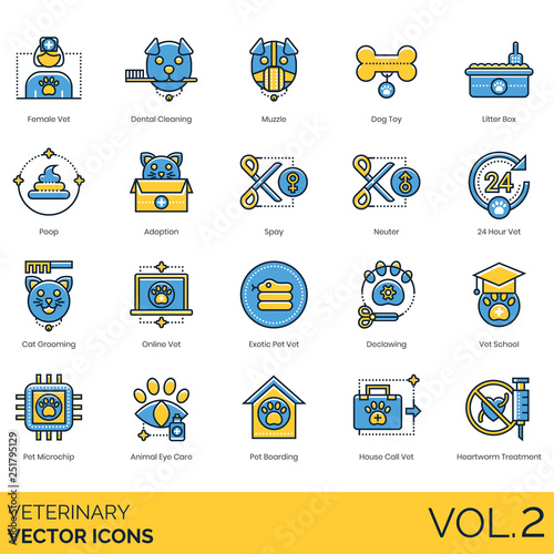 Veterinary icons including female vet, dental cleaning