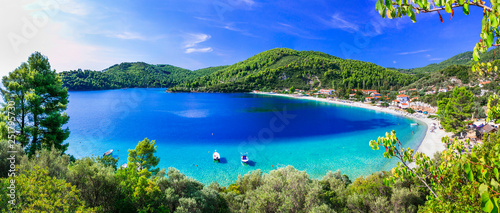 Best beaches of Skopelos - beautiful Panormos bay. Sporades island of Greece