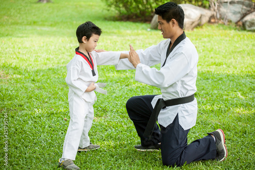 Photo  father coach is training his son boy taekwondo in green park