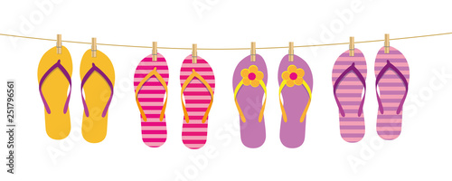 Fotografía  flip flops hang on the rope attached with clothespins vector illustration EPS10