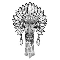 Wild animal wearing inidan headdress with feathers. Boho chic style illustration for tattoo, emblem, badge, logo, patch. Children clothing.