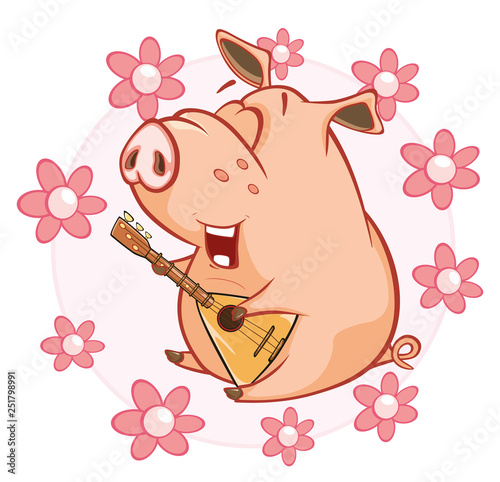 Fotobehang Babykamer Vector Illustration of a Cute Pig. Cartoon Character