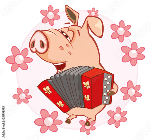 Foto op Aluminium Babykamer Vector Illustration of a Cute Pig. Cartoon Character